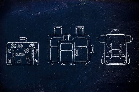 alumnos en clase: illustration of different types of travel bags