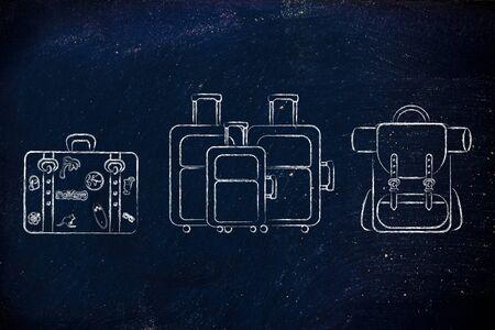 alumnos en clase: ilustración de los diferentes tipos de bolsas de viaje