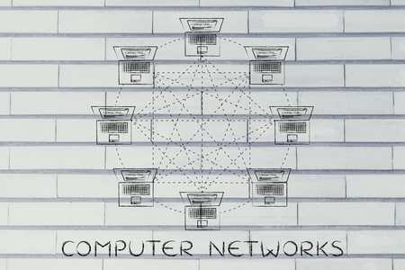 network topology: computer networks: laptops connected with each other in a fully connected network structure Stock Photo