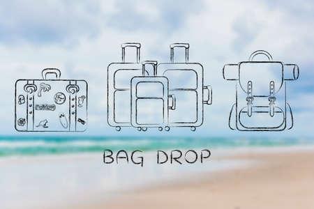 alumnos en clase: caída de la bolsa: ilustración de los diferentes tipos de bolsas de viaje