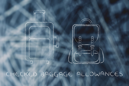 piece of luggage: checked baggage allowances: illustration of a piece of luggage and a backpack