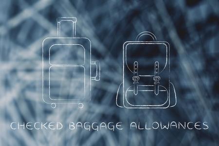 alumnos en clase: franquicias de equipaje verificado: ilustraci�n de una pieza de equipaje y una mochila