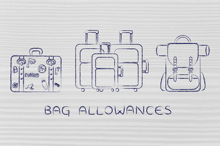 alumnos en clase: bag allowances: illustration of different types of travel bags