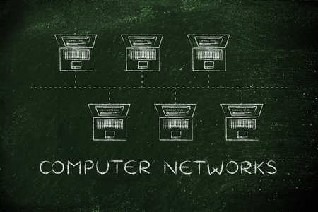 network topology: computer networks: laptops connected with each other in a bus network structure Stock Photo