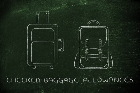 alumnos en clase: checked baggage allowances: illustration of a piece of luggage and a backpack