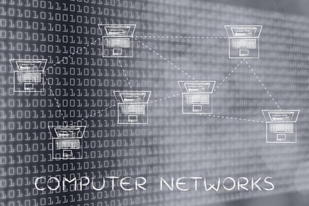 network topology: computer networks: laptops connected with each other in a mesh network structure