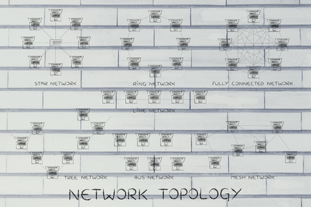 network topology: Network Topology: different computer networks designed with tiny laptops, dashed connection lines and captions of each type