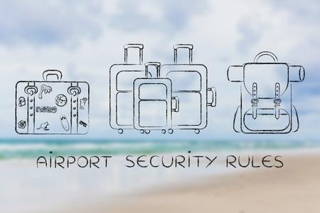 空港セキュリティの規則: トラベル バッグの種類のイラスト