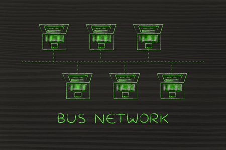 network topology: bus network topology: laptops connected with each other in a bus network structure Stock Photo