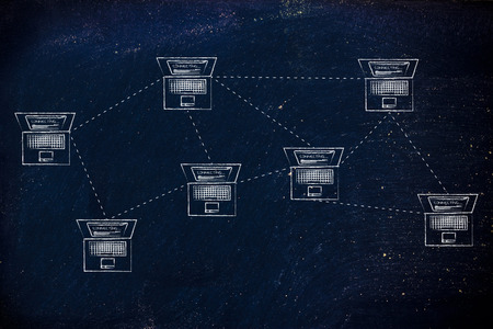 network topology: laptops connected with each other in a mesh network structure