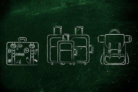 alumnos en clase: ilustraci�n de los diferentes tipos de bolsas de viaje