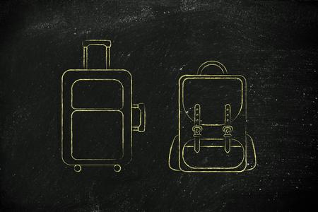 alumnos en clase: ilustración de un equipaje de mano y la mochila