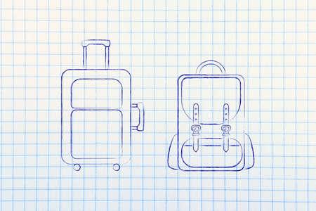 alumnos en clase: ilustraci�n de un equipaje de mano y la mochila