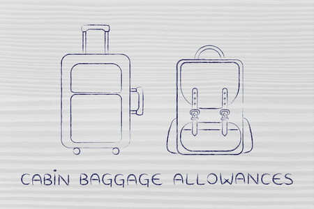 piece of luggage: cabin baggage allowances: illustration of a piece of luggage and a backpack Stock Photo
