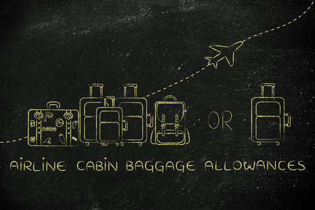 alumnos en clase: airline cabin baggage allowances: illustration of a group of luggage and a single small bag, with airplane flying away behind them