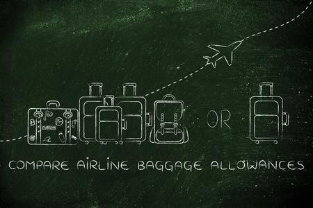 alumnos en clase: comparar las prestaciones de equipaje de avi�n: Ilustraci�n de un grupo de equipaje y un peque�o bolso, con el avi�n volando detr�s de ellos
