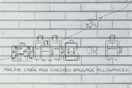 alumnos en clase: cabina de avi�n y dietas de equipaje facturado: Ilustraci�n de un grupo de equipaje y un peque�o bolso, con el avi�n volando detr�s de ellos