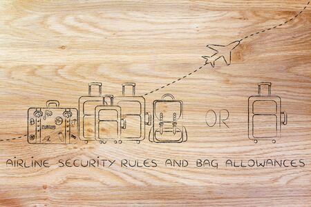 alumnos en clase: reglas y las dietas bolsa de seguridad aérea: Ilustración de un grupo de equipaje y un pequeño bolso, con el avión volando detrás de ellos