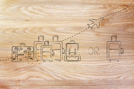 alumnos en clase: aerolínea asignaciones bolsa de comparación: Ilustración de un grupo de equipaje y un pequeño bolso, con el avión volando detrás de ellos