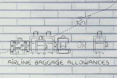 alumnos en clase: airline baggage allowances: illustration of a group of luggage and a single small bag, with airplane flying away behind them