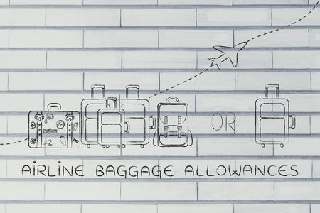 alumnos en clase: subsidios de equipaje de avi�n: ilustraci�n de un grupo de equipaje y un peque�o bolso, con el aeroplano volando detr�s de ellos