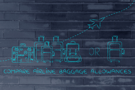 alumnos en clase: compare airline baggage allowances: illustration of a group of luggage and a single small bag, with airplane flying away behind them