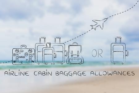 alumnos en clase: los billetes de franquicias de equipaje de cabina: ilustraci�n de un grupo de equipaje y un peque�o bolso, con el aeroplano volando detr�s de ellos