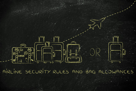 alumnos en clase: airline security rules and bag allowances: illustration of a group of luggage and a single small bag, with airplane flying away behind them