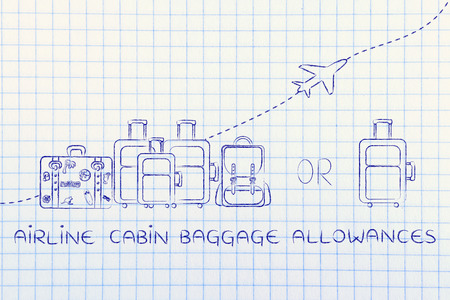 world economy: airline cabin baggage allowances: illustration of a group of luggage and a single small bag, with airplane flying away behind them