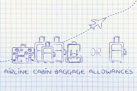 mochila de viaje: los billetes de franquicias de equipaje de cabina: ilustración de un grupo de equipaje y un pequeño bolso, con el aeroplano volando detrás de ellos