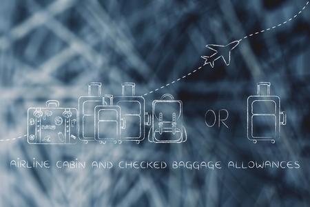 alumnos en clase: cabina de avión y dietas de equipaje facturado: Ilustración de un grupo de equipaje y un pequeño bolso, con el avión volando detrás de ellos