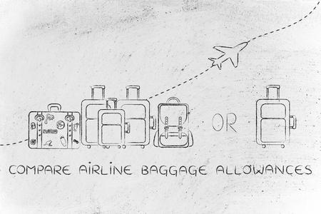 alumnos en clase: comparar las prestaciones de equipaje de avión: Ilustración de un grupo de equipaje y un pequeño bolso, con el avión volando detrás de ellos