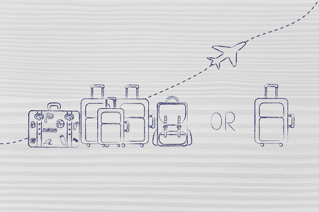 alumnos en clase: aerol�nea asignaciones bolsa de comparaci�n: Ilustraci�n de un grupo de equipaje y un peque�o bolso, con el avi�n volando detr�s de ellos