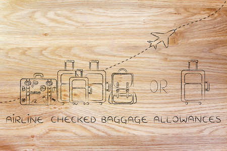 alumnos en clase: airline checked baggage allowances: illustration of a group of luggage and a single small bag, with airplane flying away behind them Foto de archivo