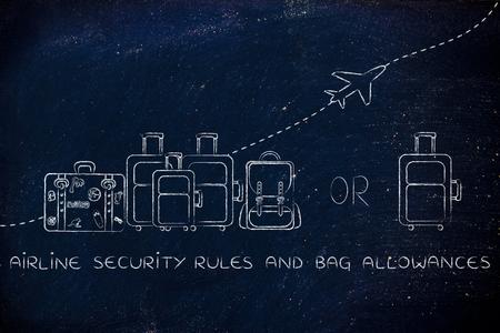 alumnos en clase: reglas y las dietas bolsa de seguridad a�rea: Ilustraci�n de un grupo de equipaje y un peque�o bolso, con el avi�n volando detr�s de ellos