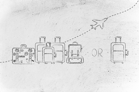 alumnos en clase: airline bag allowances comparison: illustration of a group of luggage and a single small bag, with airplane flying away behind them Foto de archivo