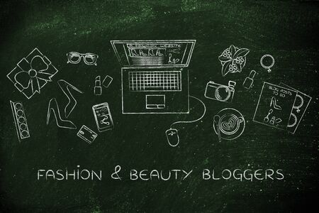bloggers: fashion & beauty bloggers: desk with mixed fashion & beauty objects and personal blog website on laptops screen