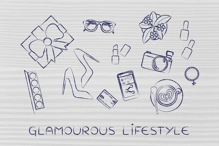glamourous: glamourous lifestyle: mixed objects flat illustration with camera and smartphone to share products