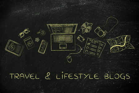 globetrotter: travel & lifestyle blog: desk with mixed travel & lifestyle objects and personal blog website on laptops screen Stock Photo