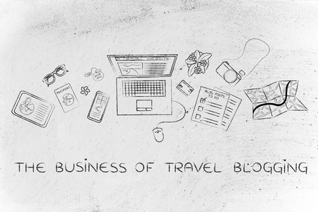 globetrotter: the business of travel blogging: desk with mixed travel & lifestyle objects and personal blog website on laptops screen