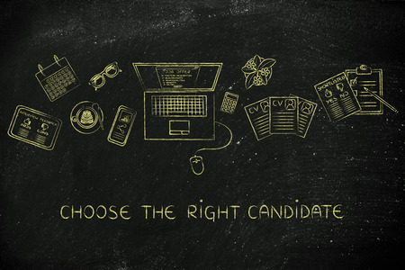 resumes: choose the right candidate: recruiter desk with mixed resumes and shortlists for the job offer on laptop screen