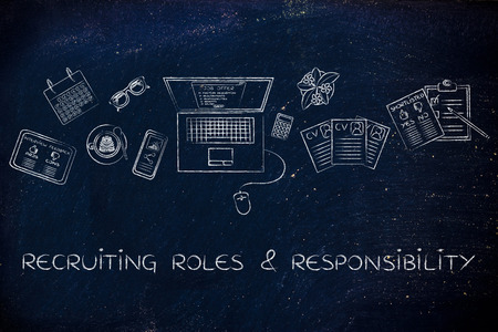 roles: recruiting roles & responsibilities: recruiter desk with mixed resumes and shortlists for the job offer on laptop screen Stock Photo