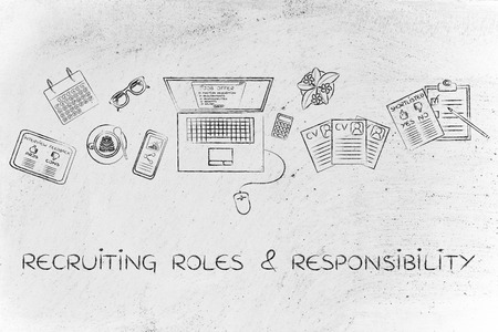 responsibilities: recruiting roles & responsibilities: recruiter desk with mixed resumes and shortlists for the job offer on laptop screen Stock Photo
