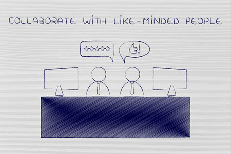agreeing: collaborate with like-minded people: co-workers at office desk agreeing with each other Stock Photo
