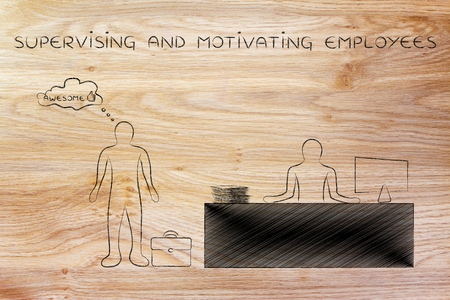motivating: supervising and motivating employees: boss evaluating a performance as awesome Stock Photo