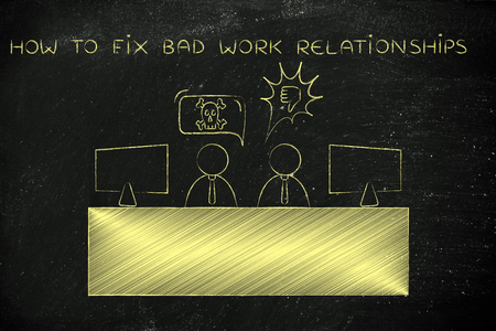 disagreeing: how to fix bad work relationships: colleagues at office desk arguing and disagreeing with each other