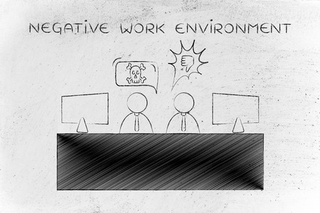 work environment: negative work environment: colleagues at office desk arguing and disagreeing with each other