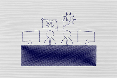 disagreeing: colleagues at work office desk arguing and disagreeing with each other