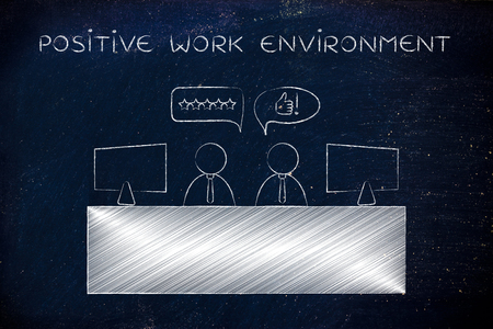 agreeing: positive work environment: colleagues at office desk agreeing with each other