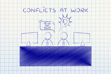 disagreeing: conflicts at work: colleagues at office desk quarreling and disagreeing with each other